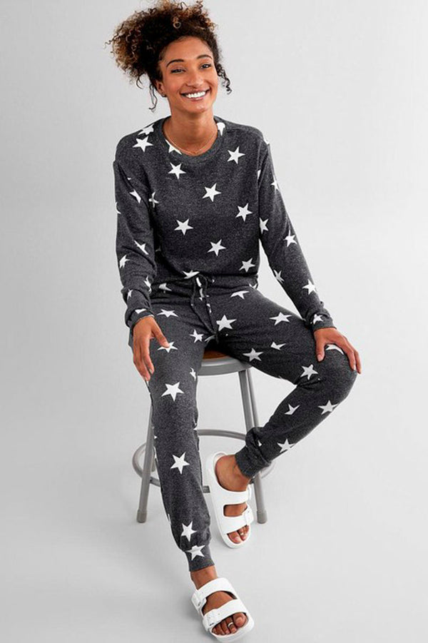 Lounging Around Set - Charcoal Star Pajamas