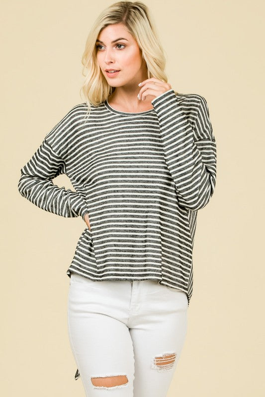 Stripes and Ties Top - Black