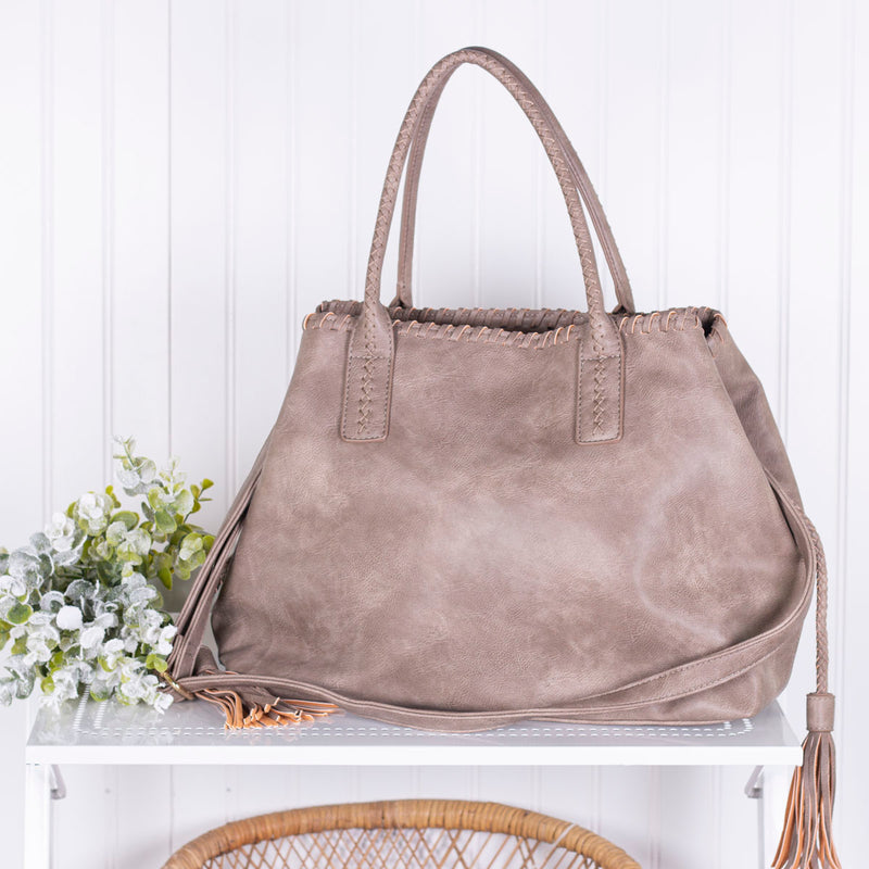 Destination Unknown Tassel Handbag - Dark Taupe