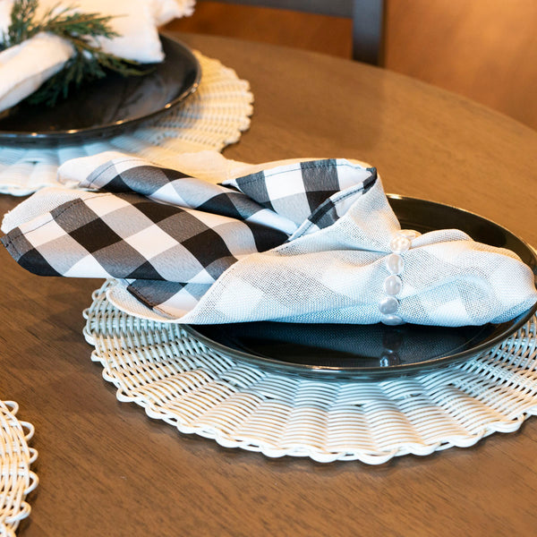 Black and White Buffalo Check Napkin Set
