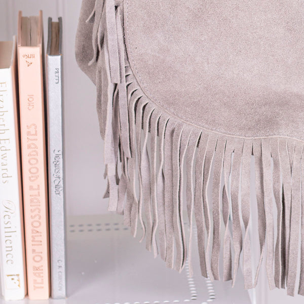 Fringed Out Genuine Sueded Leather Handbag