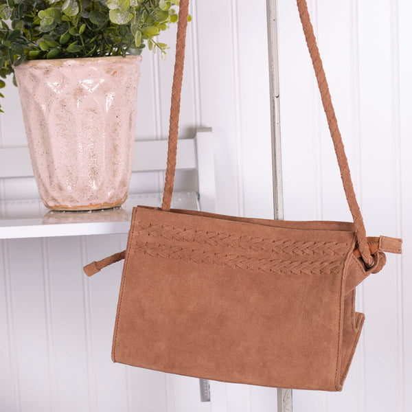 Braided Suede Sling Bag - Camel