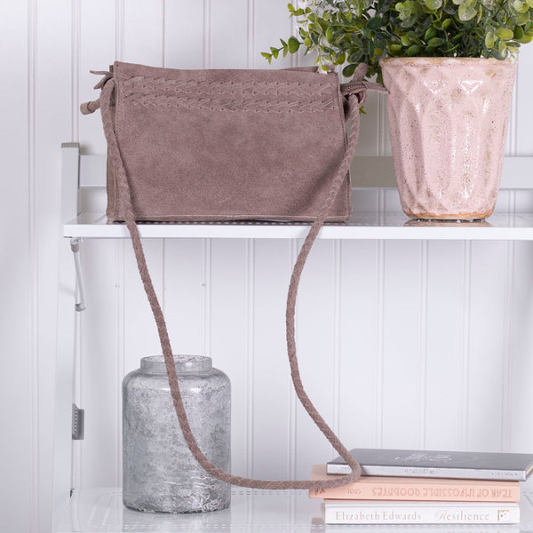 Braided Suede Sling Bag - Taupe