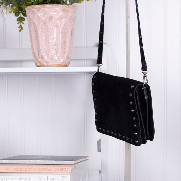 Living Fashionably Genuine Sueded Leather Sling Bag - Black