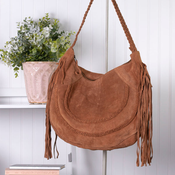 Gone Country Genuine Sueded Leather Hobo Handbag