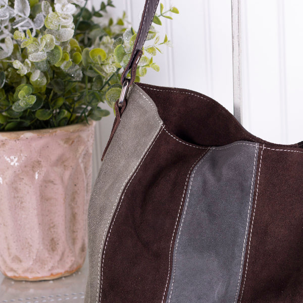 Stripe It Up Genuine Suede Handbag - Exceptional
