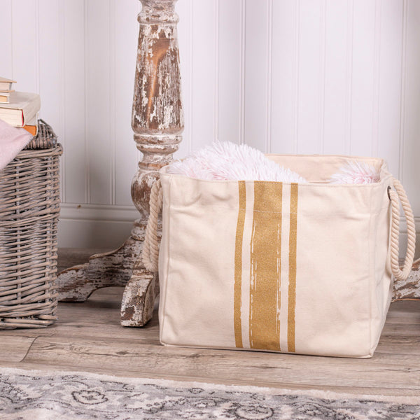 Brush Strokes Canvas Storage Basket - Goldtone