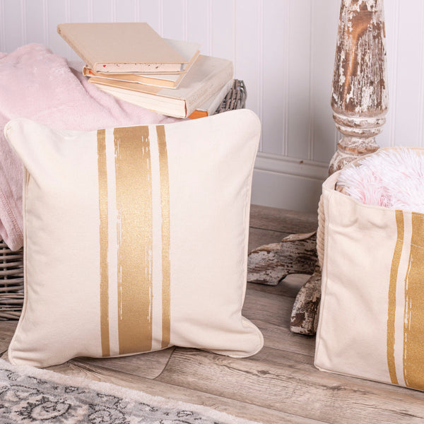 Brush Strokes Canvas Pillow Cover - Gold