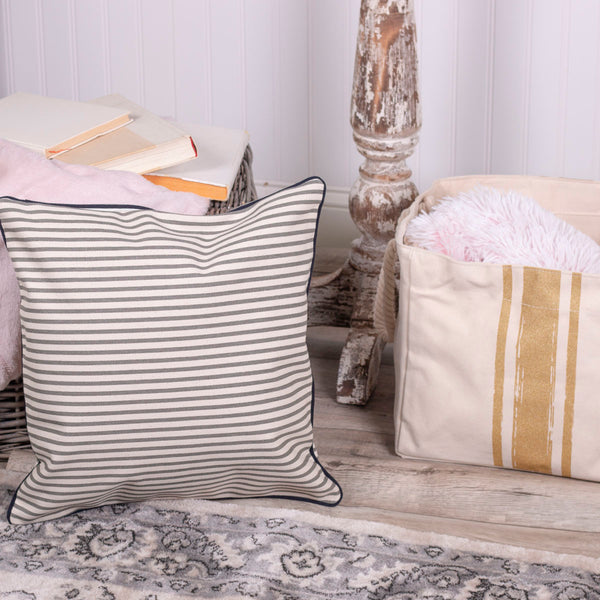 Gray Striped Canvas Pillow Cover