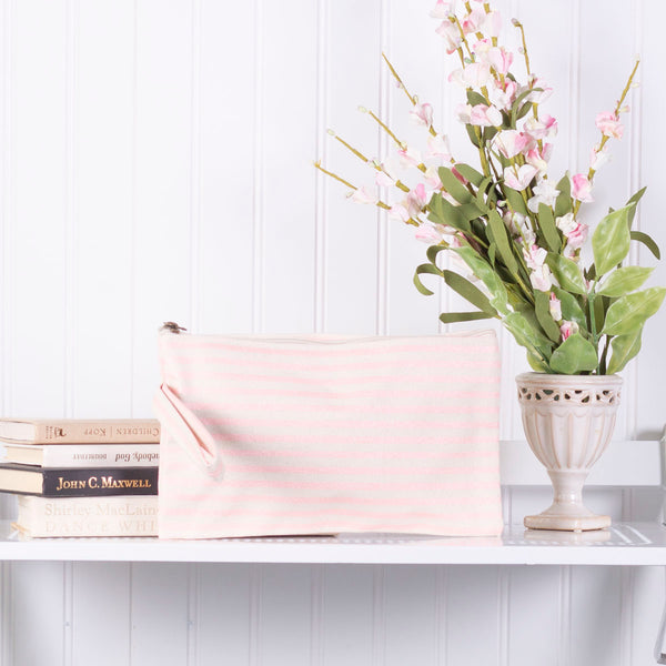 Pink Striped Cosmetic Bag/Wristlet