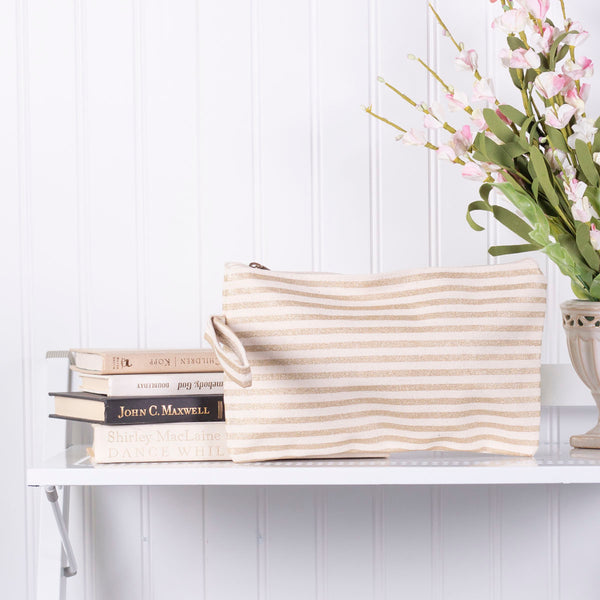 Gold Stripe Cosmetic Bag/Wristlet