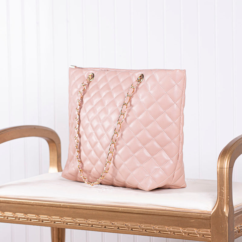 Call Me Lovely Quilted Handbag - Blush