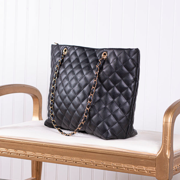 Call Me Lovely Quilted Handbag - Black