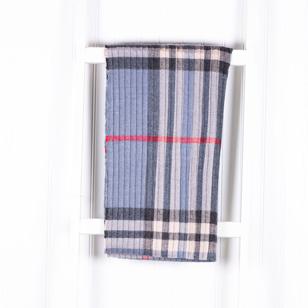 Personalized Plaid Winter Scarf - Light Blue