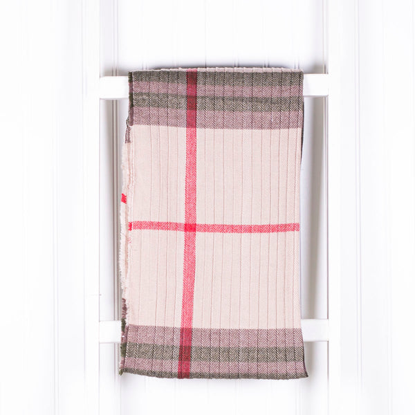 Personalized Plaid Winter Scarf - Beige