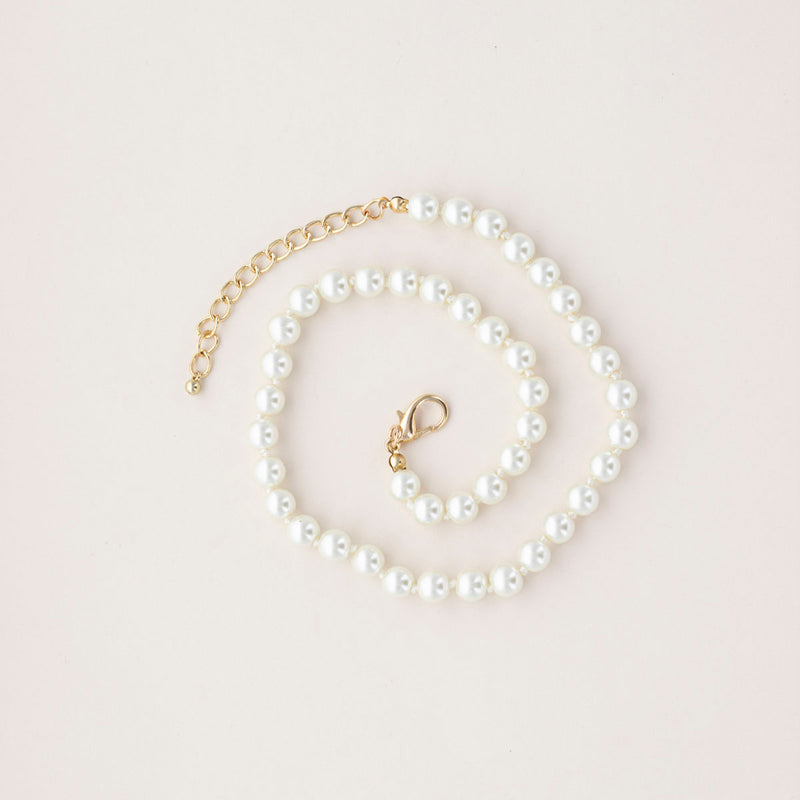 Grace and Pearl Single Strand Pearl Necklace and Earring Set - 8mm
