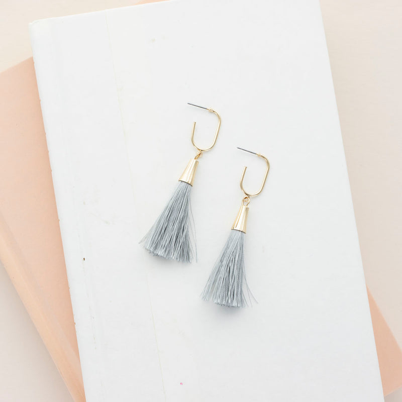 Don't Tassel with Me - Gray Tassel Earrings
