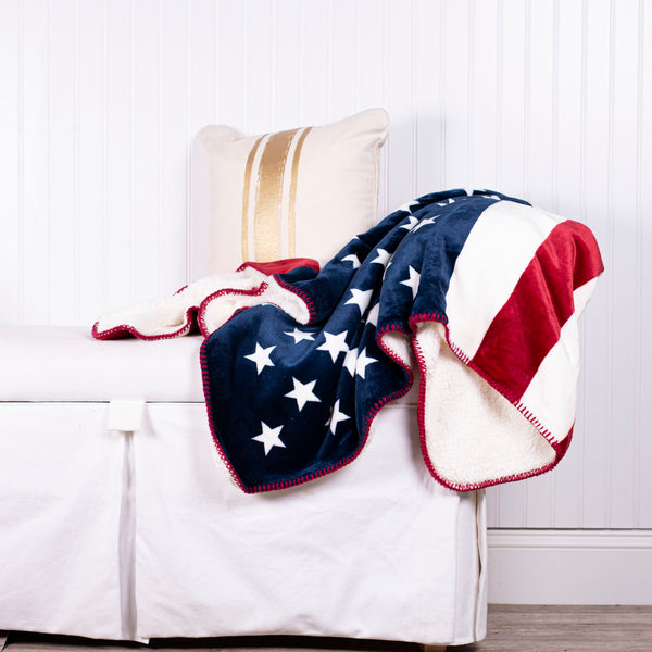 God Bless America Flag Sherpa Blanket