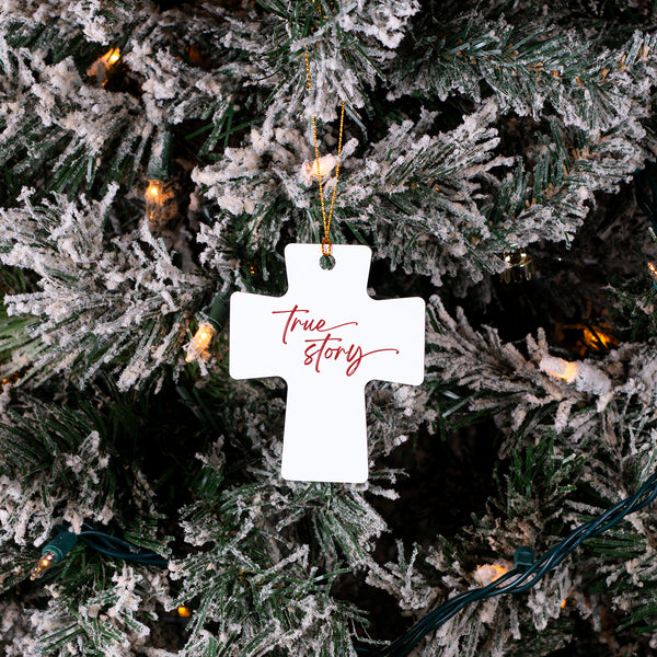 True Story Cross Christmas Ornament