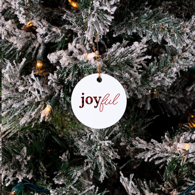 Joyful Red Buffalo Check - Christmas Ornament