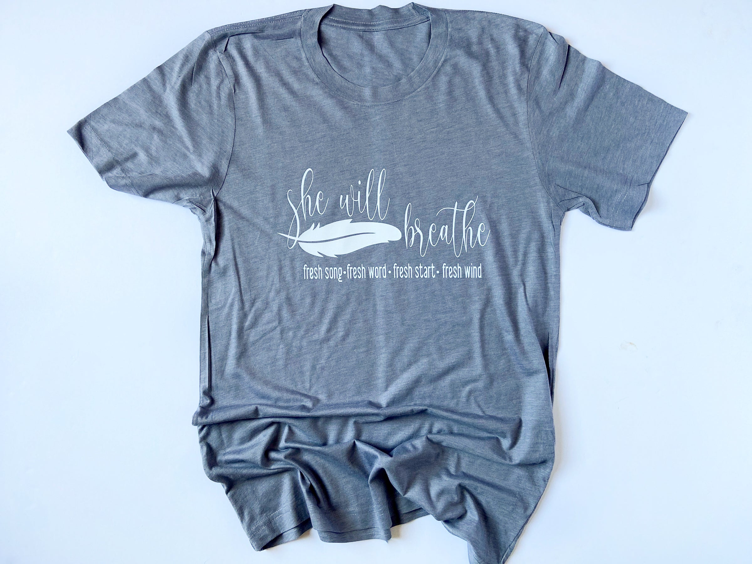 She Will Breathe Grey Tshirt