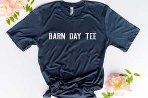short sleeve navy blue graphic tee reading barn day tee in white lettering