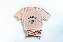 Load image into Gallery viewer, peach short sleeve tshirt with barn vibes in black lettering