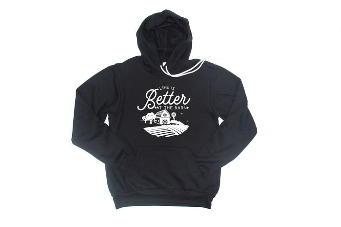 Soft Fleece Hoodie-Life is Better At The Barn-DARK GREY HEATHER