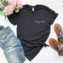 Load image into Gallery viewer, black  short sleeve tshirt printed with dog mom in lower case script writing with a little paw print in white ink placed over the left chest
