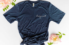 Load image into Gallery viewer, navy  short sleeve tshirt printed with dog mom in lower case script writing with a little paw print in white ink placed over the left chest