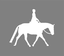 Load image into Gallery viewer, English Flat Rider Horse Decal- Window Vinyl Decal- Trailer Decal