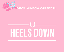 Load image into Gallery viewer, Heels Down Horse Riding Vinyl Car Decal- Window Vinyl Decal- Trailer Decal