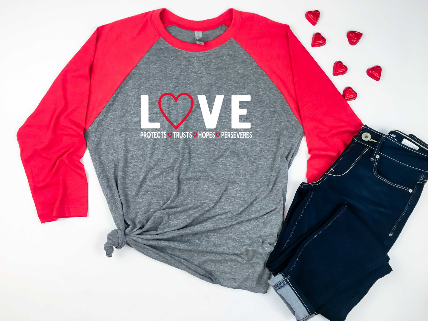 LOVE Protects.Trusts. Hopes. Perseveres {3/4inch Long Sleeve Crew Neck Raglan Baseball Tee}
