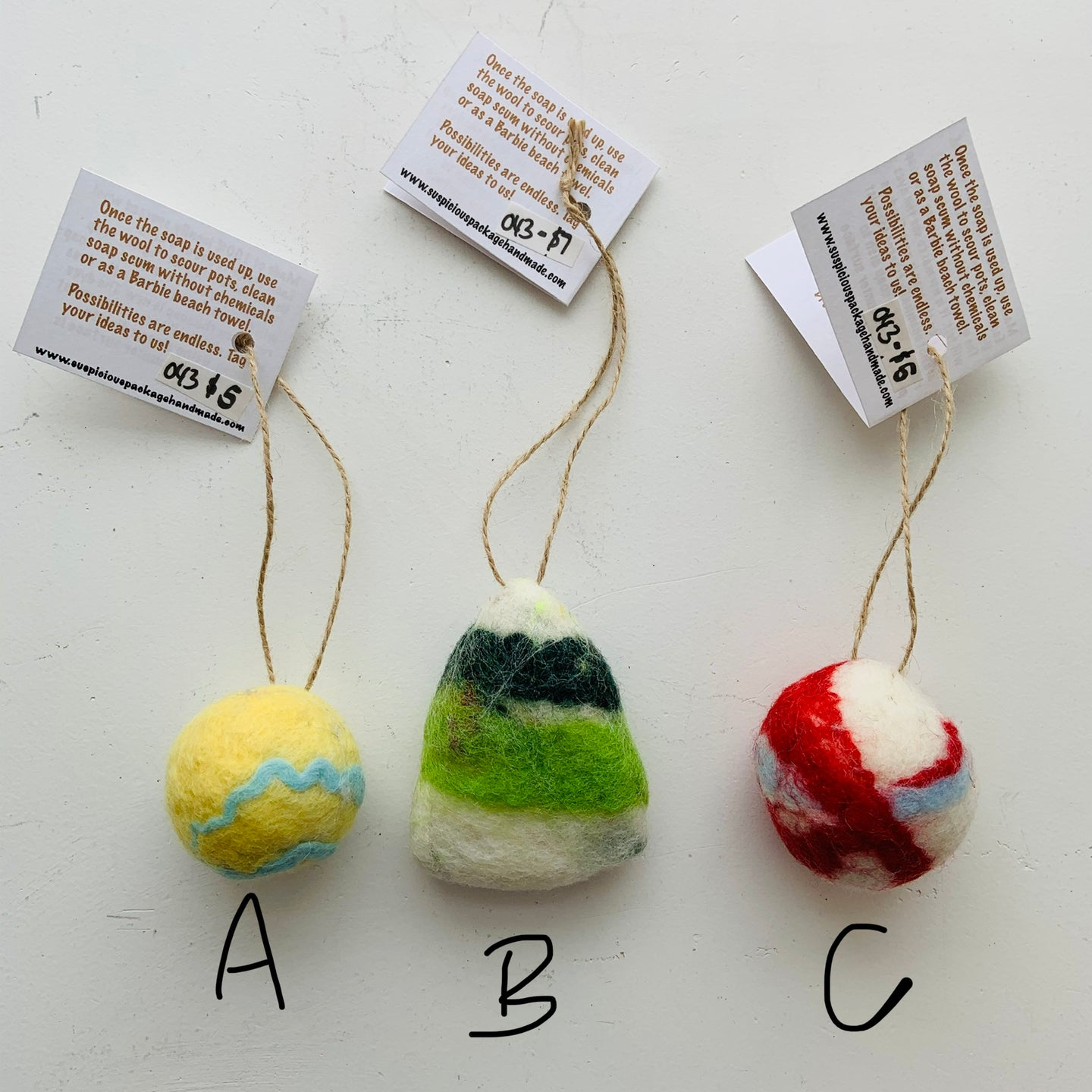 Felted Soap on rope/ornaments