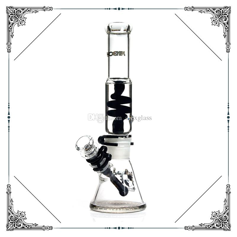 7MM Thick glass beaker bottom bongs Freezable Coil Tube bong 12'' glass water pipe build a Glycerin bong for smoking glass hookah cool bongs