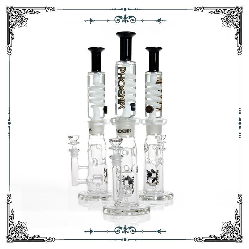 phoenix black & white straight fab Jet Perc Freezable Coil Tube bong glass water pipe build a Glycerin hookahs smoking heady free shipping