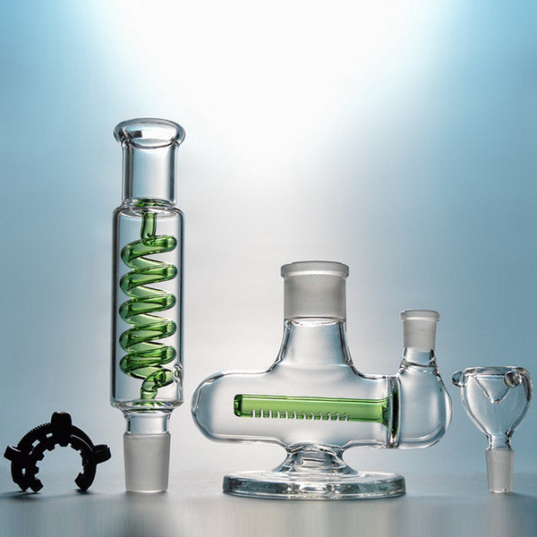 Condenser Coil Freezable Perc Build a Bong Glass Dab Rigs Bongs Inline Oil Glass Rig Staight Tube Water Pipes Diffused Downstem ILL06-07