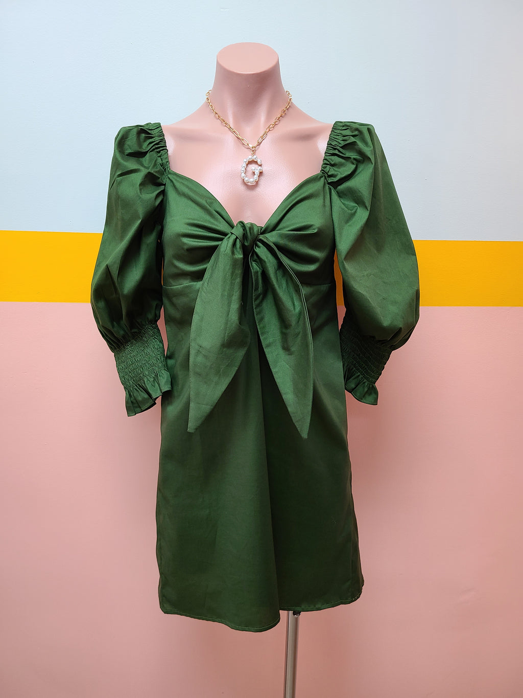 Green Bow Cotton Dress