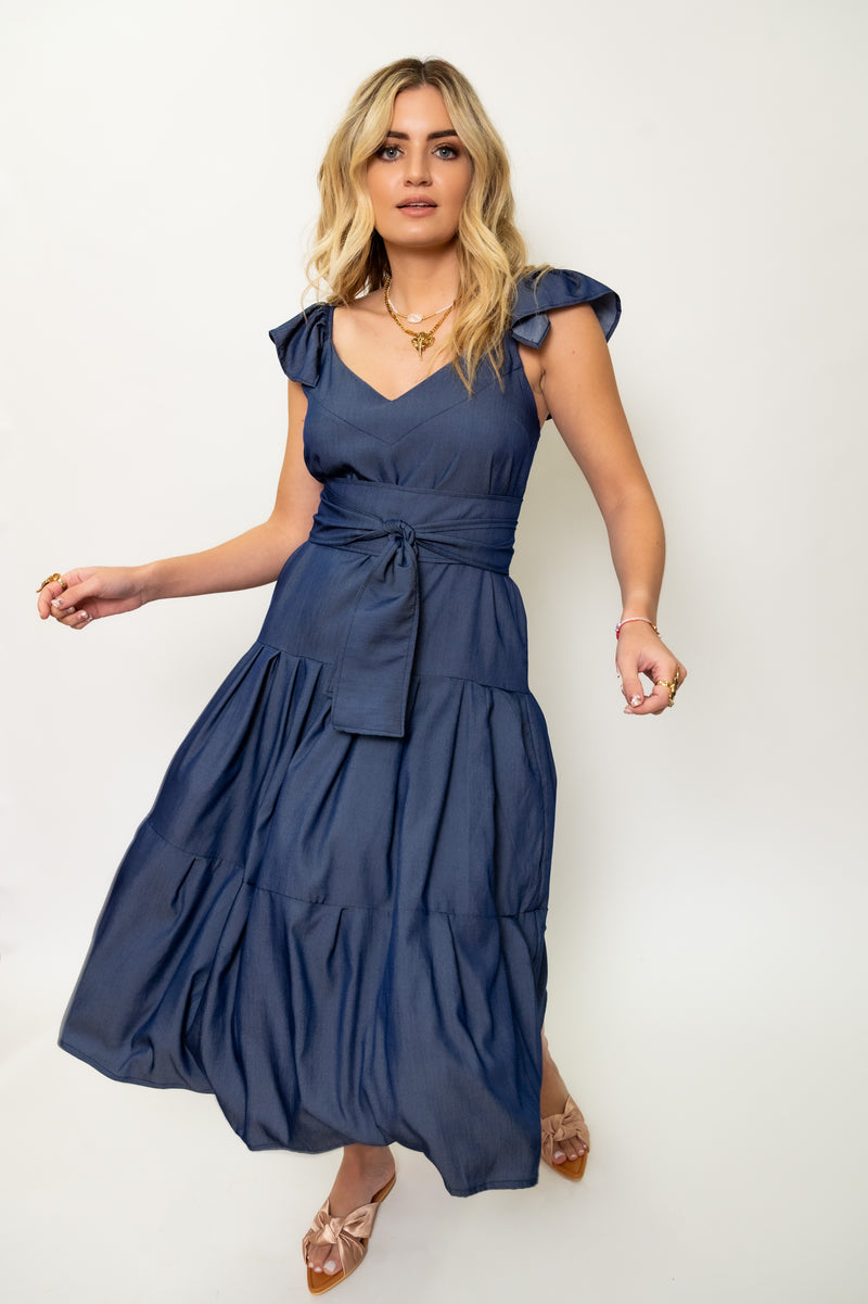 Solid Ruffle Trim Belted Flare Dress