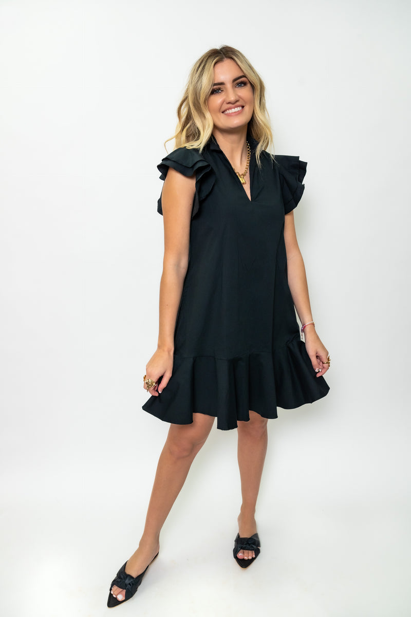 Cool Short Dress with Ruffles Sleeves