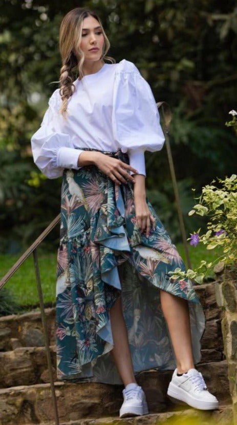 Tropical Frilled Skirt