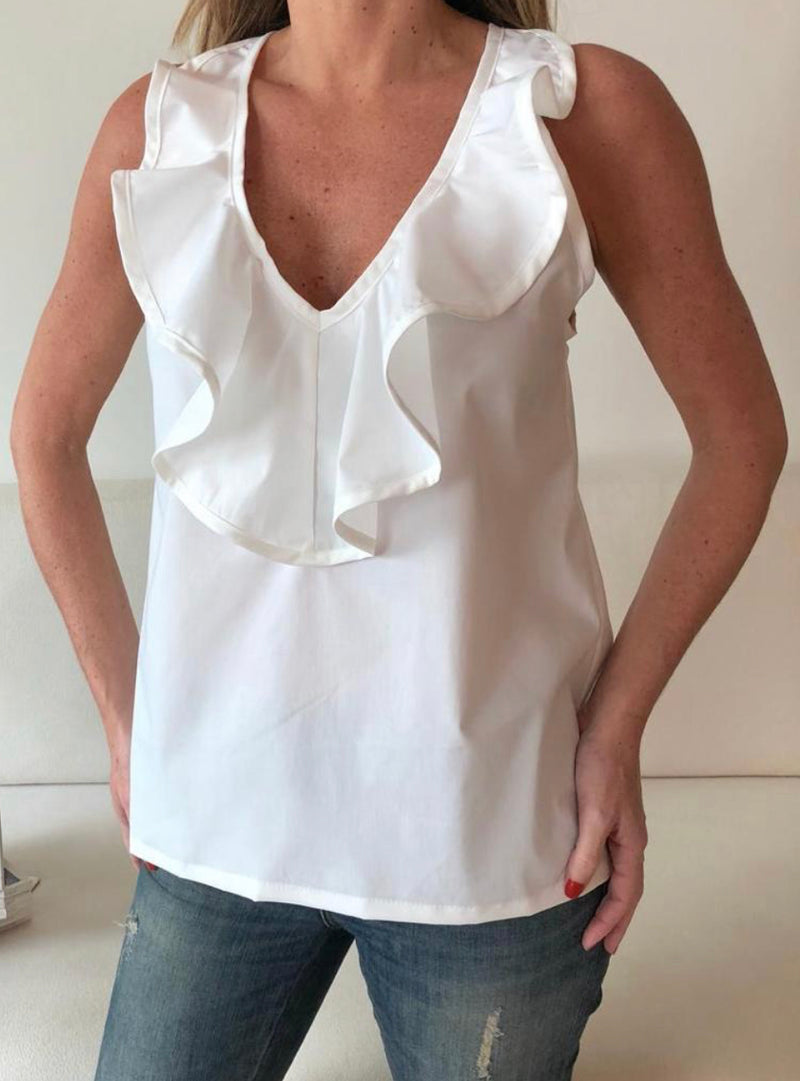 Ruffle V-neck white blouse