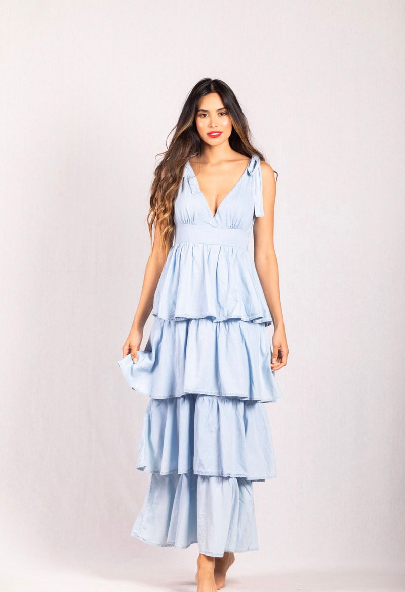 Light Blue Ruffled Dress