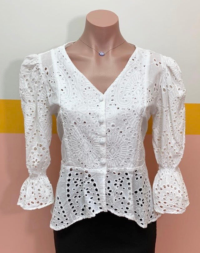 White Ojalillo J&B Blouse