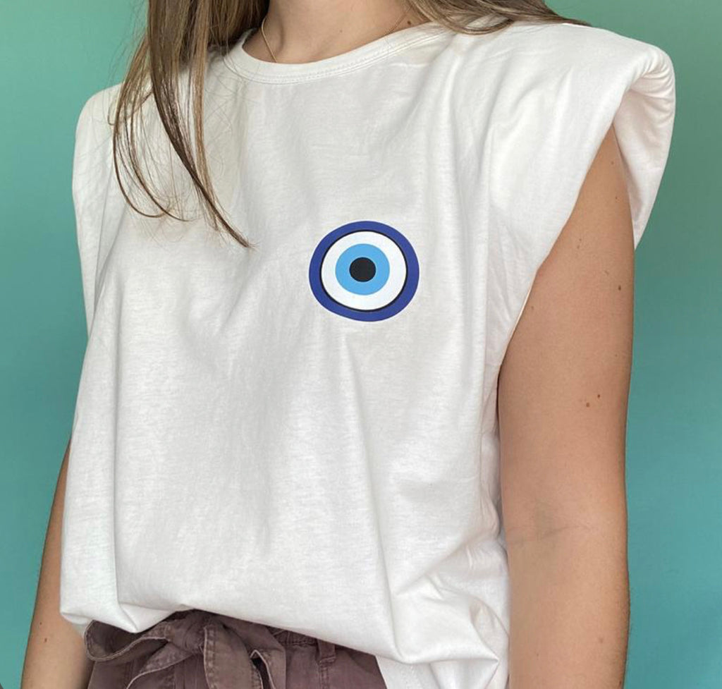 T-shirt Eye Shoulder Pad Tee