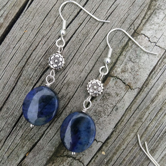 Blue Dumortierite Silver Dangle Earrings