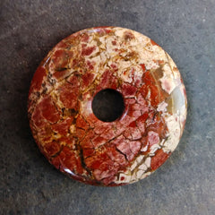 Brecciated jasper stone donut mixed reds and pinks with a hint of cream