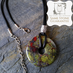 Dragon Blood Jasper Pendant with Same Stone Guarantee stamp