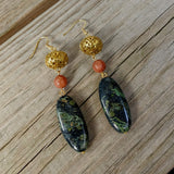 Art Nouveau Kambaba Jasper Upcycled Agate Necklace Earring Jewelry Set