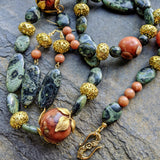 Art Nouveau Agate and Kambaba Jasper Necklace Set